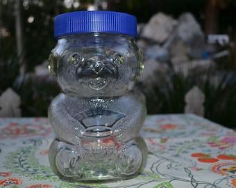 Vintage Skippy Super Chunk Peanut Butter Glass Teddy Bear Jar #08 13 5 9697