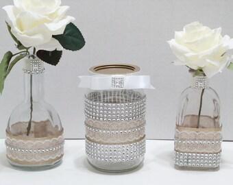 3-Piece Wedding Bud Vases and Mason Jar Candle Holder