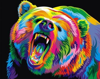 5D DIY Diamond Painting Colorful Bear Mosaic Cross Stitch Full Square Drill 3D Diamond Painting kit Sticker Home Decoration Gifts