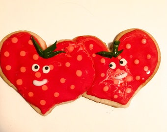 Strawberry couple sugar cookies