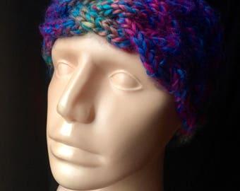 Soft multicolored cable knit headband