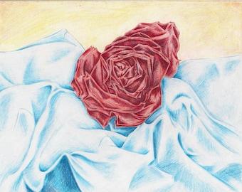 """Drawing""""Sleeping Rose"""""""