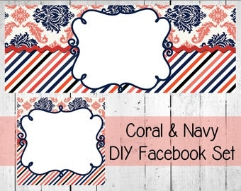 Coral & Navy Facebook Set Editable