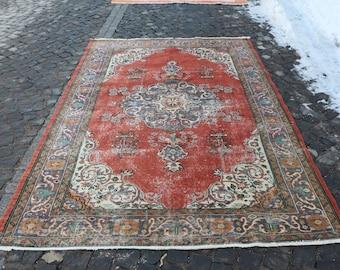 Free Shipping Tradational Rug 5.9 x 9 ft. Rustic Rug Handknotted Boho Rug Organic Wool Rug Handknotted Turkish Rug Nomadic Rug MB68