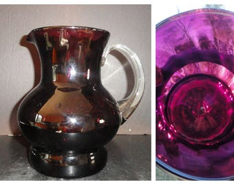 Gorgeous Pitcher Deep Amethyst Blown Glass Hand Blown Pitcher with Clear Applied Handle