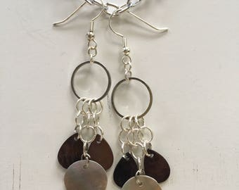 Brown and Opalescent Shell Earrings