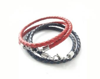 Universal set bracelet, handmade of leather and stainless steel