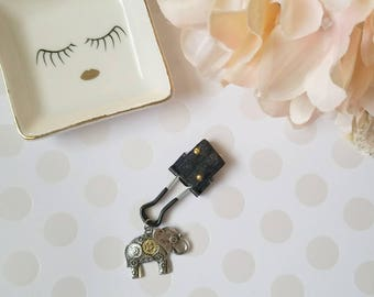Gold Studded Elephant; pen clips, pen loops