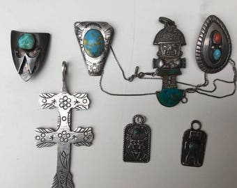 7 Vintage Sterling Silver Native American Old Pawn Pendants