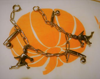 Vintage Bowling Players Club Bowling League Silvertone Charm Bracelet