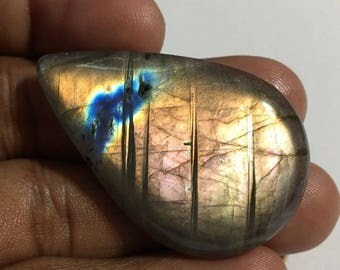 67.4 Cts 100% Natural Medagascar's Labradorite Cabochon Yellow Multi Fire Polished Cabochon Healing Quartz Pear Shape 46x29x6 mm N#1477-53