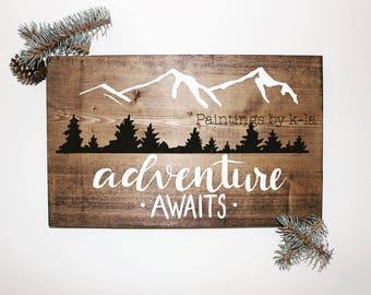 Adventure Awaits Wood Sign nursery art