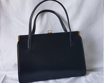 MACLAREN Faux Vegan Leather Vintage Kelly Black Handbag Norwich England Brass Clasp 50s 60s 70s