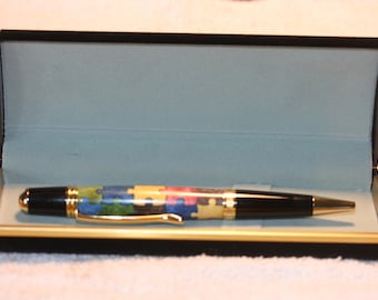 Handcrafted Autism Awareness Puzzle Inlayed Pen in a Black Velour Case
