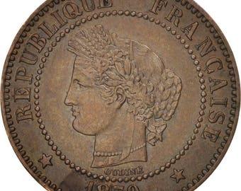 france cérès 2 centimes 1879 paris ef(40-45) bronze km827.1