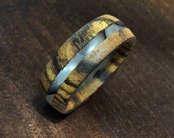 Recycled Bocote Wood and Acrylic White/Black Swirl Ring