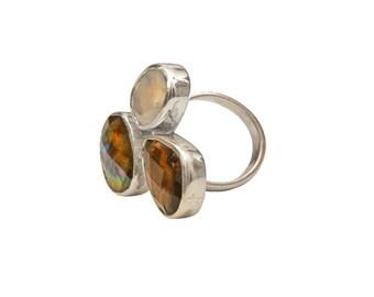 Three Stone Silver Ring