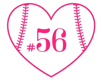 Baseball Softball Heart Monogram | Numbers or Initials | Perfect for your sports bottle, Yeti, phone case, & more!| Lots of fonts and colors