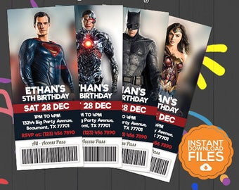 Justice League Ticket Invitation, Justice League Invite, Justice League Birthday Invite, Justice League Party, Digital Invite