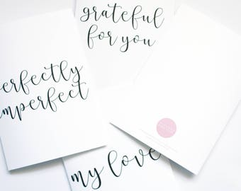 Pack of 4 Greetings Cards,  Multi Purpose Cards,  Minimal Greeting Cards,  Calligraphy Phrase Cards, Blank Greetings Card, Birthday Cards