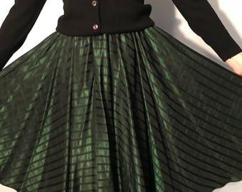 Emerald Green Vintage 50's Silk Brocade Circle Skirt