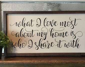 What I Love Most About My Home Is Who I Share It With. Hand Painted and Wood Framed Sign.