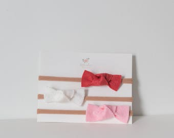 3 Pack of Isla Bows- Handmade felt bows for babies, toddlers and children
