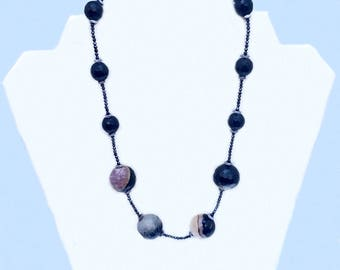All Black Agate and Glass Necklace