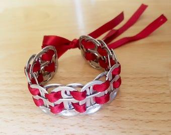 Recycled soda tab bracelet Bu/Si
