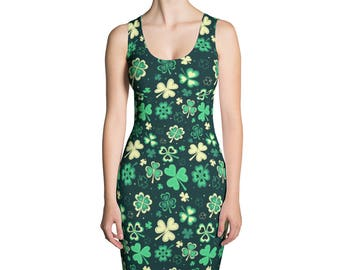 St.Patrick's Day Sublimation Cut & Sew Dress, Shamrock, USA, Printful