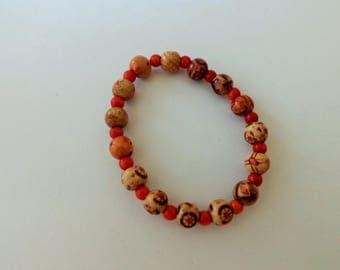 Decorated wood bracelet
