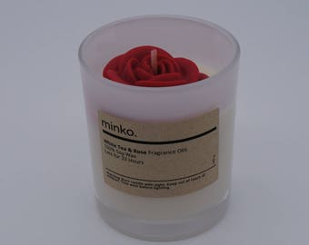White tea & Rose Scented Soy Wax Candle - Rose