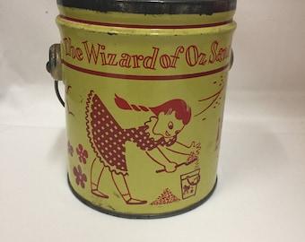 "Wizard Of Oz ""Vintage"" 1950/60' ""Swift"" 5 Pound Peanut Butter Tin Pail"