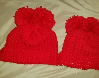 Mommy and me puff ball hats