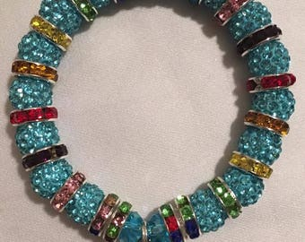 Handmade Bracelets-Made with 10 mm Pave Beads with 10 color options