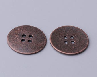 10pcs 2 sizes 23/13mm 4 holes sewing button round copper zinc alloy button simple shirt coat button