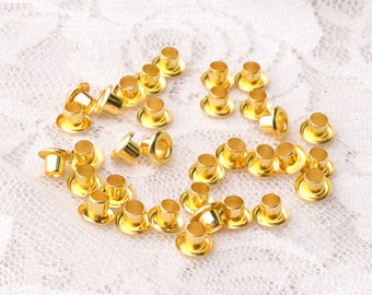 tiny eyelets 100pcs 6*2.5*4mm metal eyelets grommets gold grommets for clothes shoes leather making