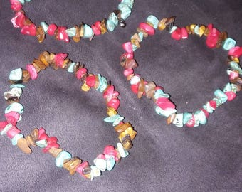 Turquoise red agate and tigereye bracelets