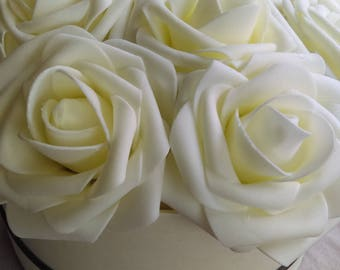 Beautiful vintage cream and black ivory rosebox