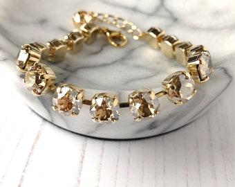 Champagne Crystal Bracelet, Medium Crystal Tennis Bracelet, Swarovski Bracelet, Bridesmaid Bracelet