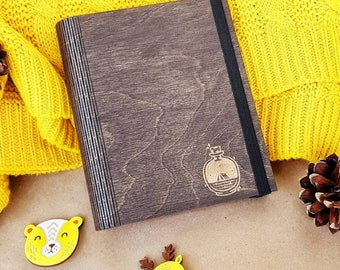 Personalized  Lover Gift Wooden Custom Notebook Blank Journal Diary Animal Lover Custom Name Gift for Girlfriend Mom