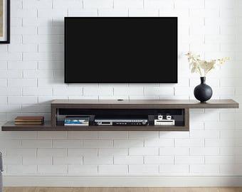 Assymetrical Wall Mounted TV Floating Shelf