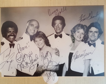 Rare autographed black & white photo of The Loveboat TV cast, 1980s