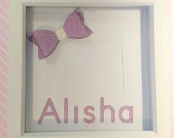 Personalised Box Frame Glitter Bow, Handmade, Photo Frame, Gifts for Her, Baby Girl, Birthday Gift