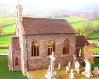 Garden Railway G Gauge 1.24th Stone Parish Church & Grave Yard