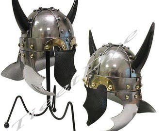 Medieval Viking Horn Helmet Armor Ancient Replica Costume
