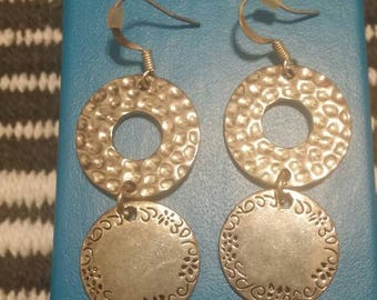 Vintage Silver Dangle Pierced Earrings