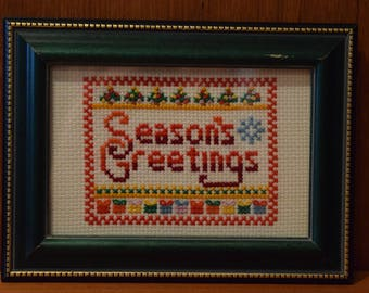 Completed Cross Stitch:  Season's Greetings