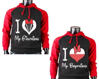 Two Color Hoodies for Couple I Love My Boyfriend,I Love My Girlfriend Disney Raglan Blak-Red Couple Goal Popular Designs