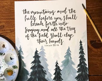 Isaiah 55:12 Bible Verse Painting/Lettering Watercolor